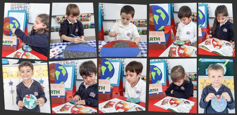 Pre-School – Learning all about the Earth and the layers the earth has. Pre Primary B making an Earth model to identify the earth's layers.