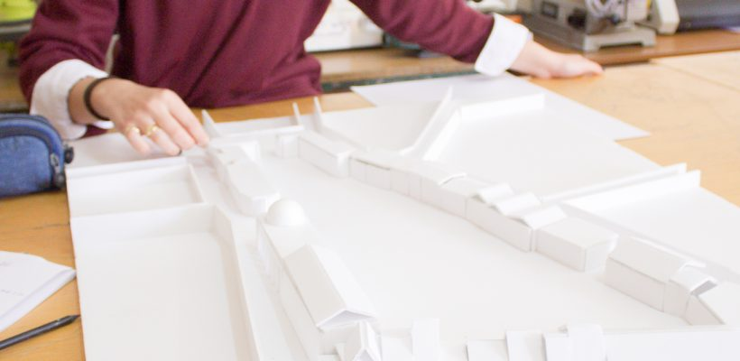 High School – Year 6: Design & Technology student working on a scaled model for the restoration and renovation of the 'Zouhouri' building complex's yard in Larnaca.
