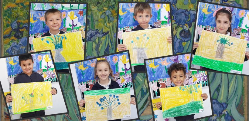 """Pre-School: Pre primary B students talking about spring and flowers. Observing famous paintings and recreating Van Gogh's painting """"Irises""""."""