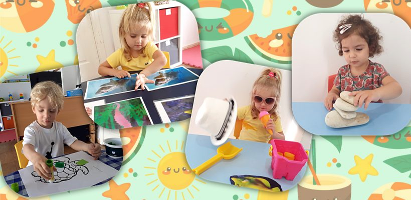 Pre-School: Summer is here so Busy Bee class has created our own beach activities in the classroom.