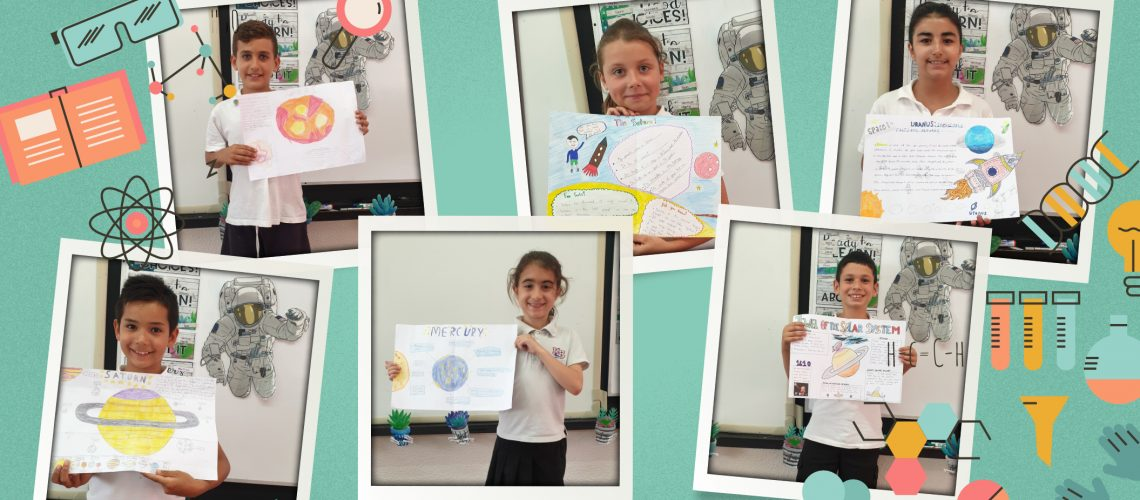 Junior School: Grade 3 presenting their science posters on space
